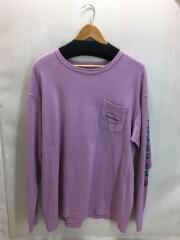 長袖Tシャツ/ロンT/ピンク/ストリート/胸ポケット/プリント/クルーネック/袖プリ/中古/古着