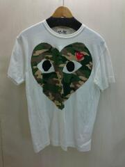 Tシャツ/L/コットン/クリーム/白T/Tee/半袖/AZ-T242/古着/ハート/プリント/胸ロゴ
