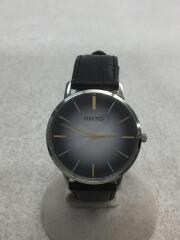 クォーツ腕時計/アナログ/レザー/SLV/BLK/7N01-0JR0