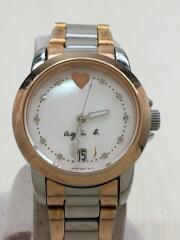 クォーツ腕時計/アナログ/ステンレス/シェル文字盤/シルバー/銀色/ゴールド/金色/コンビ