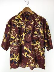 半袖シャツ/M/ポリエステル/BRW/開襟シャツ/オープンカラー