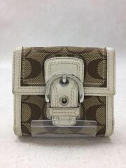 2つ折り財布/レザー/BRW/無地/レディース