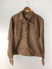 長袖シャツ/2/コットン/ベージュ/16sus10/サファリシャツ/右袖色焼け