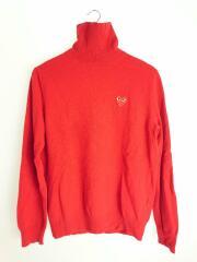 セーター(薄手)/M/ウール/レッド/赤/ハートワッペン/タートルネック/AZ-N004