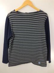 フレンチバスクシャツ/カットソー/長袖Tシャツ/コットン/灰/グレー/ボーダー/2トーン