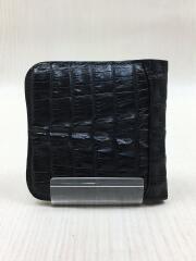 2つ折り財布/カイマンクロコダイルレザー/ピッグスキン/本革/マットブラック/黒