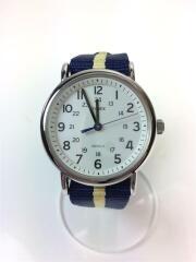 Weekender/防水クォーツ腕時計/アナログウォッチ/ナイロン/ホワイト/白/ネイビー/紺