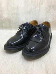 革靴/3ホール/レースアップシューズ/UK9/ブラック/黒/PATENT LAMPER/AW006