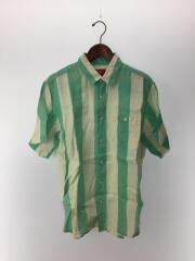 18SS/Wide Stripe Shirt/半袖シャツ/M/リネン/GRN/ストライプ