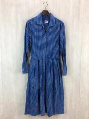 Size:1/BLU/長袖シャツワンピース/開襟/オープンカラー/コットン/チェック