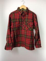 70s/筆記体/プルオーバーシャツ/L/ウール/RED/チェック