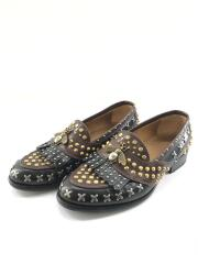 Quentin Studded Spikes/スタッズ/ビー/フリンジ/ローファー/UK6/BLK/494655