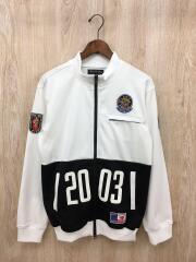 トラックジャケット/2003/ワッペン/ジャージ/L/ポリエステル/WHT