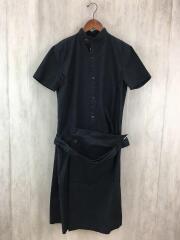 11AW/スタンドカラー半袖ワンピース/3/コットン/BLK