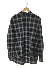18SS/チェックスタンドカラーシャツ/長袖シャツ/1/コットン/BLK/チェック