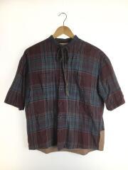 12SS/5分袖リネンチェックシャツ/シルク混/半袖シャツ/1/リネン/チェック/12533001