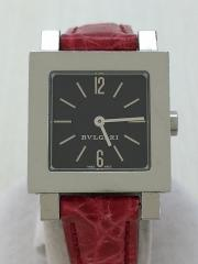 クォーツ腕時計/ベルト カスタム/アナログ/レザー/ブラック/レッド/SQ22SL