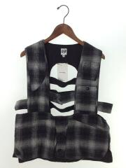 Game Vest-Shadow Plaid Flannel/ベスト/M/コットン/グレイ/チェック