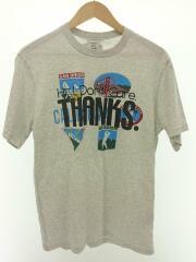 Tシャツ/M/コットン/グレー/無地/イラストプリント/THANKS/18AW