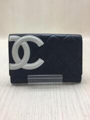 2つ折り財布/レザー/BLK/レディース