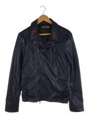 RIVA LA clothing/ダブルライダースジャケット/フェイクレザー/ブルー