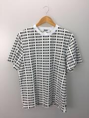Tシャツ/S/コットン/WHT/総柄/エリヨゴレ有