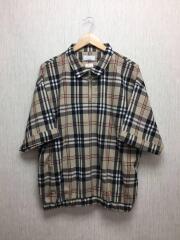 ハーフジッププルオーバーチェックシャツ/シャツ/M/ポリエステル/BEG/チェック