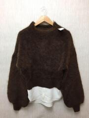 セーター(厚手)/FREE/ウール/BRW/MILD ROUND KNIT