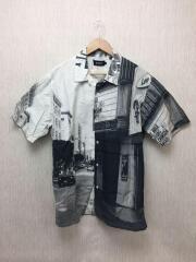 半袖シャツ/XL/コットン/WHT/総柄/01192407/OPEN COLLAR SHIRT