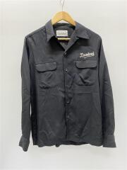 刺繍オープンカラーシャツ/リヨセル100パーセント/長袖シャツ/S/--/BLK