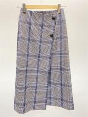 チェックラップボタンスカート/1624-207-0364/ロングスカート/S/ポリエステル