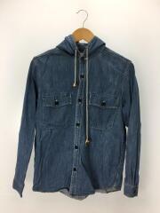 フードシャツ/長袖シャツ/2/デニム/BLU