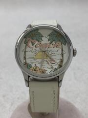 クォーツ腕時計/フラミンゴ/箱付/アナログ/レザー/WHT/14502987
