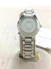 ソーラー腕時計/アナログ/ステンレス/ホワイト/SLV/文字盤シェル/A110-0AJ0