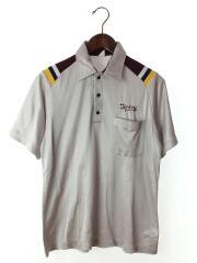 刺繍入り半袖シャツ/アメリカ製/M/コットン/GRY/汚れ有