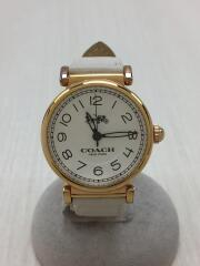 クォーツ腕時計/アナログ/レザー/WHT/WHT/14502862
