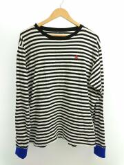 COLOR RIBBED L/S CUTSEWN/Tシャツ/XL/コットン/BLK/ボーダー
