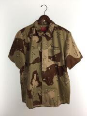 半袖シャツ/L/コットン/BRW/カモフラ/ミリタリーシャツ ワークシャツ バックプリント