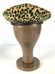 ベレー帽/L/コットン/GLD/アニマル柄/コーデュロイ/レザー部分牛革/19AW/イタリア製