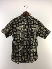 半袖シャツ/M/コットン/BLK/総柄/14SS/Block Print Shirt