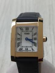 クォーツ腕時計/アナログ/レザー/WHT/GRY/F114500301/レザーシワ有
