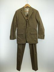 スーツ/46/コットン/BEG/無地/セットアップ/600-5/3ボタン/カジュアル/セット/メンズ
