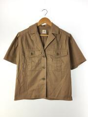 半袖シャツ/36/コットン/BRW/無地/ブラウン/パッチポケットシャツ/アローズ