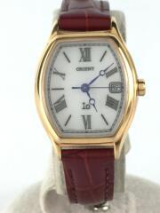 クォーツ腕時計/アナログ/レザー/WHT/BRD/オリエント/ホワイト/ボルドー/UL023/