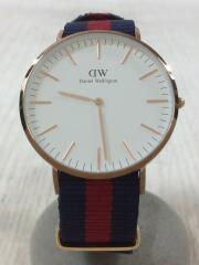 クォーツ腕時計/アナログ/--/WHT/NVY/ホワイト/ネイビー/ダニエルウェリントン/箱付き