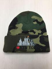 17AW/I Love NY Beanie/ニットキャップ/アクリル/GRN/カモフラ