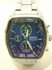 腕時計/アナログ/ステンレス/BLU/SLV