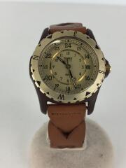 クォーツ腕時計/CR2016/アナログ/--/BEG/BRW