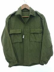 長袖シャツ//L/コットン/KHK/無地/シャツジャケット/USミリタリー/エルボーパッチ付