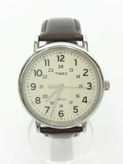 クォーツ腕時計//アナログ/レザー/WHT/BRW/使用感有
